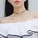 baratos Colares-Gargantilhas - Prata de Lei Fashion Preto 39.5 cm Colar Para Presente, Diário