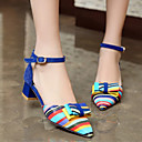 cheap Women's Sandals-Women's Shoes PU(Polyurethane) Spring / Fall Comfort / Novelty Heels Low Heel Bowknot / Buckle Black / Red / Blue / Party & Evening