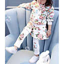cheap Girls' Clothing Sets-Girls' Floral Clothing Set, Cotton Spandex Winter Fall White
