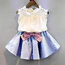 cheap RC Parts & Accessories-Toddler Girls' Daily Patchwork Bow / Ruffle Sleeveless Regular Rayon Clothing Set Blue / Cute