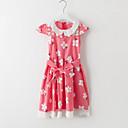 זול שמלות לבנות-שמלה כותנה קיץ שרוולים קצרים יומי פרחוני טלאים הילדה של חמוד פול אודם
