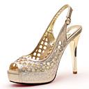 baratos Sandálias Femininas-Mulheres Sapatos Glitter Verão / Outono Gladiador / Plataforma Básica Sandálias Salto Agulha Dourado / Preto / Festas & Noite