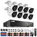 abordables Luces de Techo-sistema de seguridad annke® 8ch con 8pcs cámaras de 3m hd kits de dvr 5in1 con visión nocturna