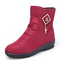 זול מוקסינים לנשים-בגדי ריקוד נשים נעליים בד אביב / חורף מגפי שלג מגפיים עקב טריז מגפונים\מגף קרסול שחור / אפור / אדום כהה