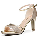 cheap Women's Sandals-Women's Shoes Synthetic Microfiber PU Summer / Fall Gladiator / Basic Pump Sandals Chunky Heel Gold / Silver / Party & Evening