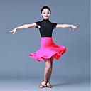 olcso Latin ruha-Latin tánc Felszerelések Lány Edzés Műselyem Kombinált Rövid ujjú Természetes Szoknyák Felső