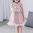 abordables Vestidos de Niña-Vestido Chica de Un Color Algodón Poliéster Sin Mangas Verano De Encaje Blanco Rosa