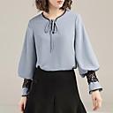 baratos Broches-Mulheres Blusa - Feriado Básico Renda, Sólido Decote V / Verão / Com Laço
