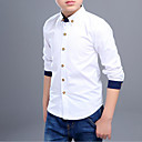 cheap Boys' Clothing Sets-Boys' Solid Patchwork Shirt,Cotton Spring Fall Long Sleeve Simple White