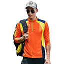 cheap Hiking T-shirts-Men's Long Sleeve Hiking Tee shirt Hiking Shirt / Button Down Shirts Outdoor Spring Summer Fast Dry Quick Dry Breathability YKK Zipper Polyester Shirt Orange Green Blue Camping / Hiking Outdoor