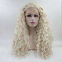 cheap Synthetic Capless Wigs-Synthetic Lace Front Wig Straight Layered Haircut Synthetic Hair Medium Size White Wig Women's Long Lace Front Wig