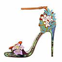 olcso Női magassarkú cipők-Női Cipő PU Tavaszi nyár Kényelmes / Újdonság Szandálok Tűsarok Lábujj nélküli Csat Szivárvány / Party és Estélyi
