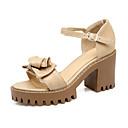 זול סנדלי נשים-בגדי ריקוד נשים נעליים PU קיץ בלרינה בייסיק סנדלים עקב עבה פתוח בבוהן פפיון / אבזם שחור / בז' / צהוב / מסיבה וערב / מסיבה וערב
