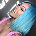 tanie Peruki z włosów ludzkich-Włosy naturalne remy Siateczka z przodu Peruka Włosy malezyjskie Prosta Niebieski Peruka Fryzura Bob 130% Gęstość włosów z Baby Hair Jedwabisty Damskie Naturalna linia włosów Bielone Węzły Niebieski