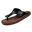 cheap Men's Slip-ons & Loafers-Men's Leather / Cowhide Summer Comfort Slippers & Flip-Flops White / Black / Brown
