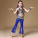cheap Dance Accessories-Belly Dance Outfits Girls' Performance Spandex Copper Coin Sleeveless Dropped Top / Pants / Waist Accessory