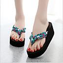 abordables Chanclas yPantuflas de Mujer-Mujer Zapatos Algodón / Tejido Verano Confort Zapatillas y flip-flops Tacón Cuña Negro / Beige / Azul