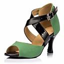 hesapli Kadın Sandaletleri-Kadın's Latin Dans Ayakkabıları Nubuk deri Topuklular Stiletto Topuk Dans Ayakkabıları Siyah / Yeşil / Performans / Deri / Egzersiz