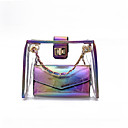 baratos Conjunto de Bolsas-Mulheres Bolsas PVC Conjuntos de saco 2 Pcs Purse Set Broche de Cristal Dourado / Arco-íris / Prateado