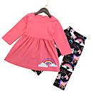 tanie Topy dla dziewczynek-Dzieci Unisex Podstawowy Solidne kolory Długi rękaw Poliester Komplet odzieży Czerwony