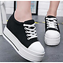 cheap Women's Sneakers-Women's Shoes Canvas Spring Comfort Sneakers Creepers Round Toe White / Black