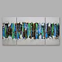 billige Landskabsmalerier-Hang-Painted Oliemaleri Hånd malede - Abstrakt Moderne Omfatter indre ramme / Tre Paneler / Stretched Canvas