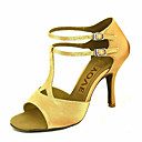 cheap Wedding Shoes-Women's Latin Shoes / Salsa Shoes Satin Sandal / Heel Buckle / Ribbon Tie Customized Heel Customizable Dance Shoes Bronze / Almond / Nude / Performance / Leather / Professional