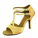 baratos Sapatos de Dança Latina-Mulheres Sapatos de Dança Latina / Sapatos de Salsa Cetim Sandália / Salto Presilha / Cadarço de Borracha Salto Personalizado Personalizável Sapatos de Dança Bronze / Amêndoa / Nú / Espetáculo