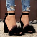 halpa Naisten sandaalit-Naisten Kengät Nupukkinahka Kevät / Kesä Comfort / Persu avokkaat Sandaalit Paksu korko Musta / Ruskea