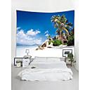 cheap DIY Wall Clocks-Beach Theme Landscape Wall Decor Polyester Contemporary Modern Wall Art, Wall Tapestries Decoration