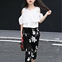 ieftine Pantaloni Fete & Leginși-Copii Fete Activ Ieșire Geometric Plisată / Imprimeu Manșon scurt Bumbac Set Îmbrăcăminte