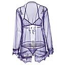 זול גופים סקסיים-בגדי ריקוד נשים סקסית מדים וחלוקים Nightwear דפוס, רקמה שחור סגול XL XXL XXXL / צווארון V