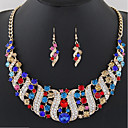 cheap Jewelry Sets-Women's Bib Jewelry Set - Statement, Ladies, Bohemian, Boho Include Drop Earrings Bib necklace Rainbow / Red / Blue For Ceremony Carnival