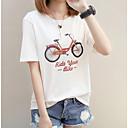 رخيصةأون جورسيه الدراجة-نسائي قطن تيشرت أساسي طباعة هندسي / أحرف, مناسب للعطلات أبيض L / الصيف