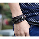 cheap Men's Bracelets-Men's Geometric Chain Bracelet Leather Bracelet - Leather Drop Simple, Vintage Bracelet Black / Brown For Christmas Daily / 2pcs
