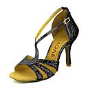 abordables Zapatos de Baile Latino-Mujer Zapatos de Baile Latino / Zapatos de Salsa Brillantina / Semicuero Sandalia / Tacones Alto Hebilla / Corbata de Lazo Tacón