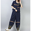 cheap Party Headpieces-Women's Plus Size Puff Sleeve Cotton Set - Solid Colored, Pleated Pant / Spring