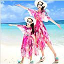 ieftine Set Îmbrăcăminte De Familie-Adulți / Copii Pentru femei De Bază Plajă Floral Manșon scurt Midi Rochie