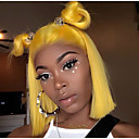 preiswerte 3-Ton Haarverlängerungen-Cabello Natural Remy Spitzenfront Perücke Brasilianisches Haar Glatt Blond Perücke Bob Bubikopf 130% Haardichte mit Babyhaar Weich seidig Natürlicher Haaransatz Gebleichte Knoten Blond Damen Kurz