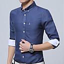 hesapli Elbise Saat-Erkek Pamuklu Klasik Yaka Gömlek Solid İş / Temel Çalışma / Uzun Kollu