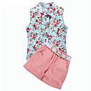 tanie Zestawy ubrań dla dziewczynek-Brzdąc Dla dziewczynek Kwiaty Bez rękawów Poliester Komplet odzieży Jasnoniebieski 100 / Śłodkie