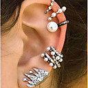 cheap Body Jewelry-Women's Mismatched Clip Earrings Ear Cuff Earrings Set - Pearl Vintage, Bohemian, Ethnic Silver For Evening Party Street / 9pcs