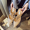 ieftine Tocuri de Damă-Pentru femei Pantofi PU Vară Confortabili Saboți Toc Îndesat Negru / Migdală