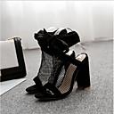 זול נעלי עקב לנשים-בגדי ריקוד נשים נעליים טול אביב קיץ נוחות סנדלים עקב סטילטו פתוח בבוהן שחור / מסיבה וערב / מסיבה וערב
