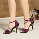 זול הלבשה לריקודים לטיניים-בגדי ריקוד נשים נעליים לטיניות משי עקבים עקב סטילטו נעלי ריקוד שחור / סגול / כחול / הצגה / עור / אימון