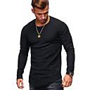 billige Herrestøvler-Bomull Rund hals T-skjorte Herre - Ensfarget Grunnleggende / Langermet