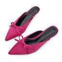 cheap Women's Sandals-Women's Silk Summer Comfort Clogs & Mules Flat Heel Peep Toe Bowknot Black / Fuchsia / Almond