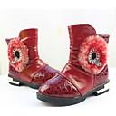 זול נעלי ילדות-בנות נעליים PU סתיו חורף נוחות / מגפיים אופנתיים מגפיים ל שחור / אדום