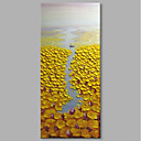 cheap Prints-STYLEDECOR® Modern Hand Painted Abstract Yellow Lotus Pond Oil Painting on Canvas for Wall Art Ready To Hang Art