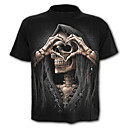 cheap Portable Audio/Video Players-Men's Skull / Exaggerated Plus Size Cotton T-shirt - Skull Print / Short Sleeve